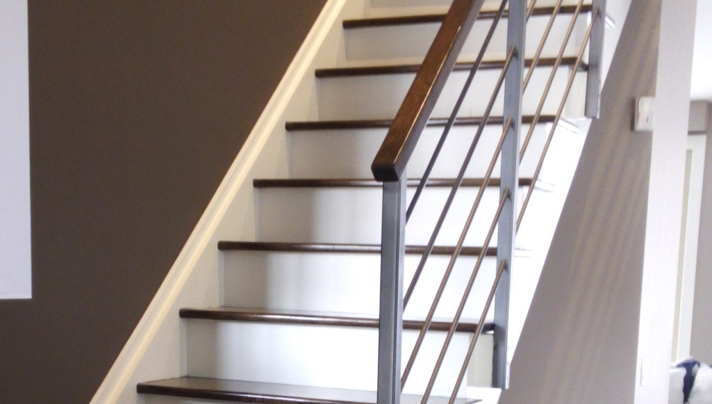 Refinishing Hardwood Stairs And Handrails Modern Look White Risers And  Stringers Colour Match Bloor West Village