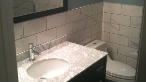 Bathroom Renos Barr Cres Brampton Marble Top Vanity Marble Look Backsplash Tiles By Adept Services Renovation Contractor