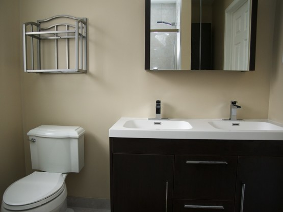 Bathroom Renovations Double Sink Vanity Medicine Cabinet Mirror Toilet Warbler Lane Mississauga Contractors By Adept Services Renovation Contractors