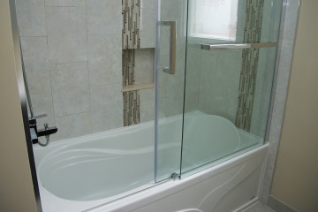 Bathroom Renovations Warbler Lane Mississauga vertival borders subway tile pattern Niche Nook Frameless Glass Sliding Door By Adept Services Renovation Contractor