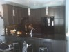 Kitchen Renovation Pendant Lights Custom Cabinets Stoney Creek Breakfast Counter Black Appliances