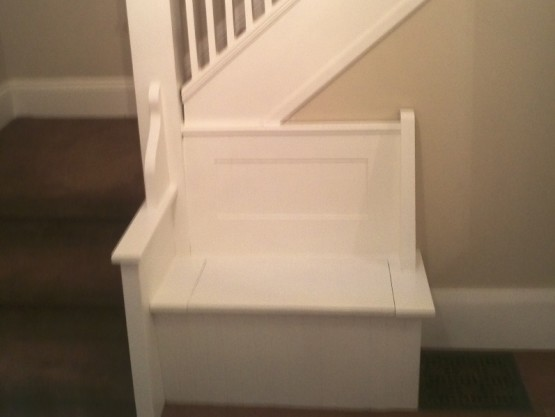 Stairs Oak Painted Pickets Painted Spindles Painted Posts at Painted Seat Superior Ave Mimico Toronto By Adept Services Renovation Contractor