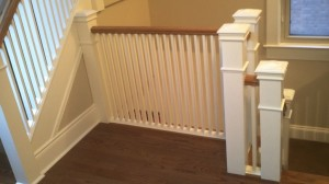 Stairs Oak Painted Pickets Painted Spindles Painted Posts at Superior Ave Mimico Toronto By Adept Services Renovation Contractor