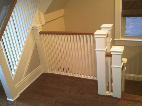 Stairs Oak Superior Ave Mimico Toronto Painted Pickets Painted Spindles Painted Posts at By Adept Services Renovation Contractor 800x600
