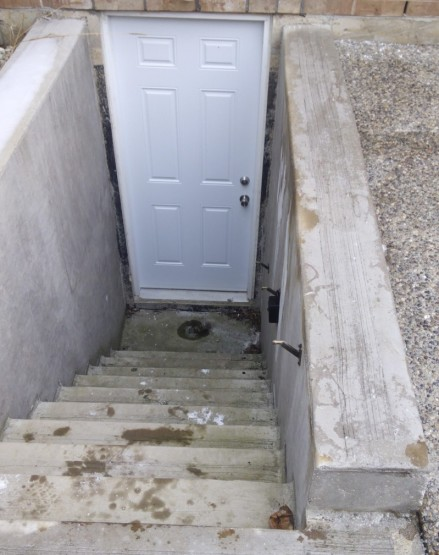 Basement Entrance Before Aluminum Railings and Handrail in Mississauga By Adept Services
