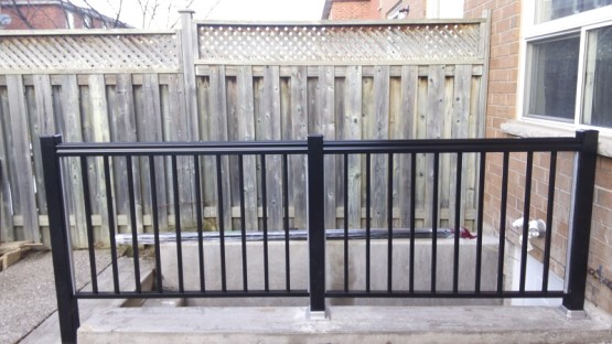 Basement Entrance During Installation Aluminum Railings and Handrail in Mississauga By Adept Services