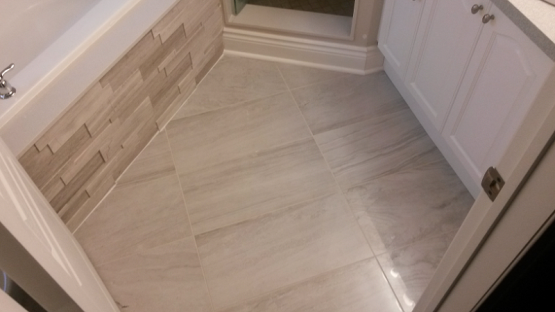 Bathroom Renovation 12x24 Marble Tiles Bathroom Floor in Oakville Full House Renovation By Adept Services