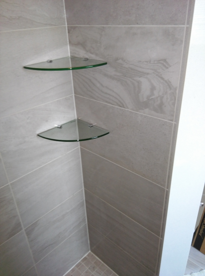 Bathroom Renovations Shower Walls Marble Tiles Glass Shelves in Oakville Full Home Renovation By Adept Services