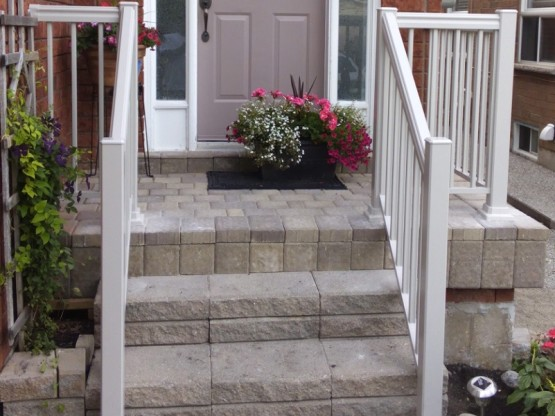 Front Porch Renovation in Mississauga After Patio Stones and Aluminum Railings By Adept Services