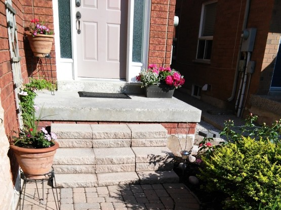 Front Porch Renovation in Mississauga Before Patio Stones and Aluminum Railings By Adept Services