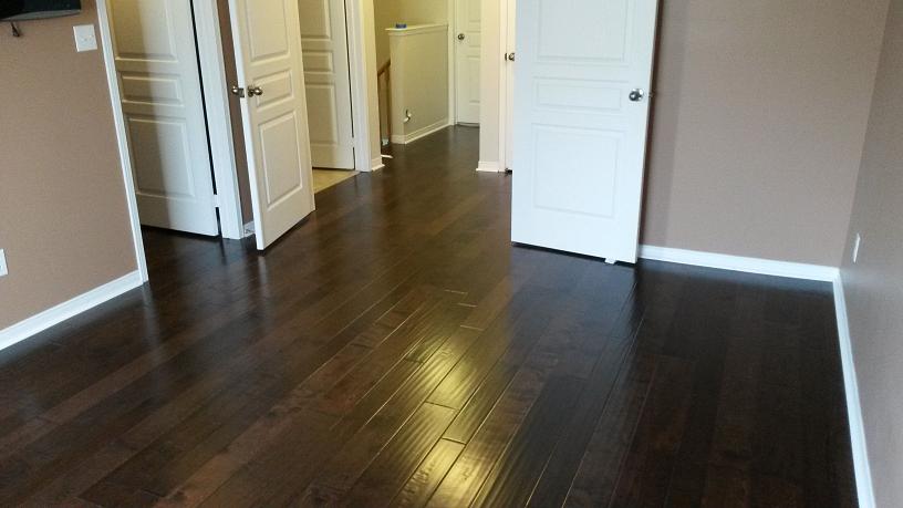 Hardwood Installation Varied Width Baseboards Quarter Round in Oakville Full House Renovation By Adept Services