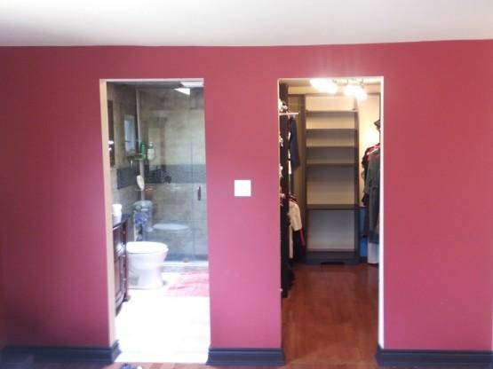 Master Bedroom Suite Renovation Closet Hardwood Floor Baseboard Door Ways Pebble Stone Borders and Shower Base Mississauga By Adept Services Contractor